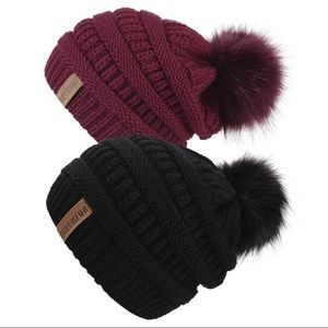 Two 5⭐️ Rated Slouchy PomPom Beanie Hats